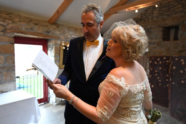 Cheryl and Lawrence's Joyful and Operatic Celebrant Ceremony. The Cornish Celebrants. Bob Berry Photography